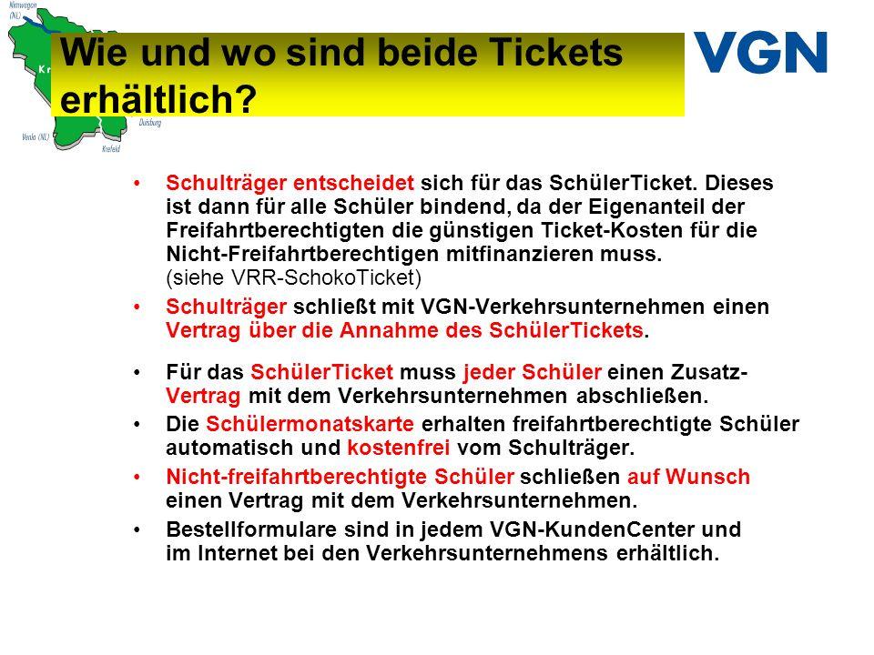 Wie und wo sind beide Tickets erhältlich.Schulträger entscheidet sich für das SchülerTicket.