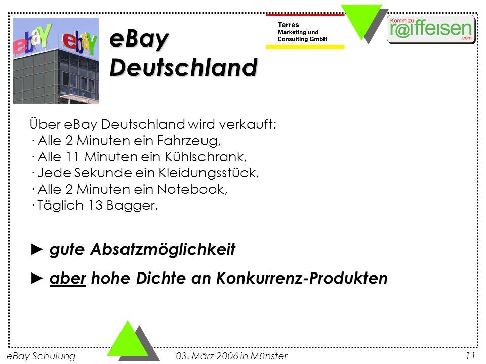 eBay Schulung 03. März 2006 in Münster11 Über eBay Deutschland wird verkauft: · Alle 2 Minuten ein Fahrzeug, · Alle 11 Minuten ein Kühlschrank, · Jede