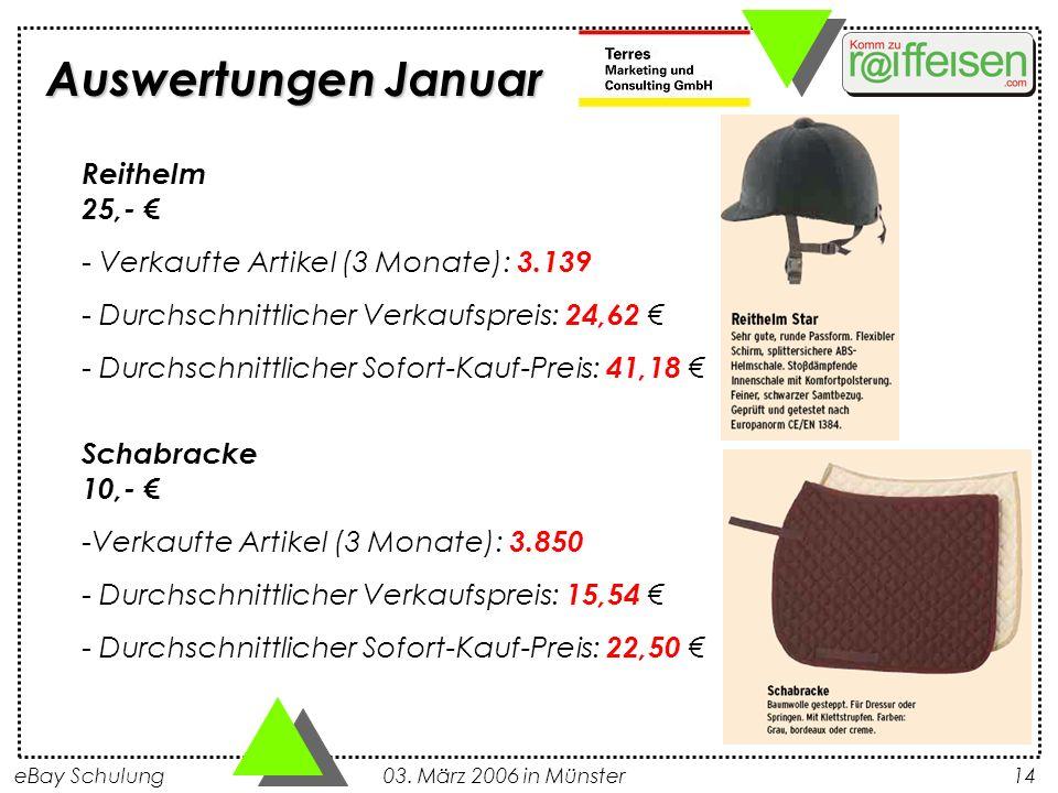 eBay Schulung 03. März 2006 in Münster14 Auswertungen Januar Reithelm 25,- - Verkaufte Artikel (3 Monate): 3.139 - Durchschnittlicher Verkaufspreis: 2