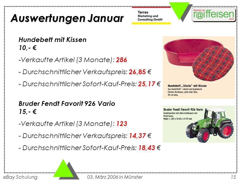 eBay Schulung 03. März 2006 in Münster15 Auswertungen Januar Hundebett mit Kissen 10,- -Verkaufte Artikel (3 Monate): 286 - Durchschnittlicher Verkauf