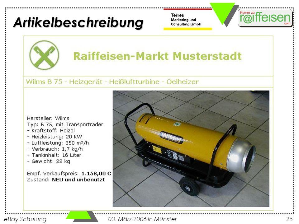 eBay Schulung 03. März 2006 in Münster25 Artikelbeschreibung