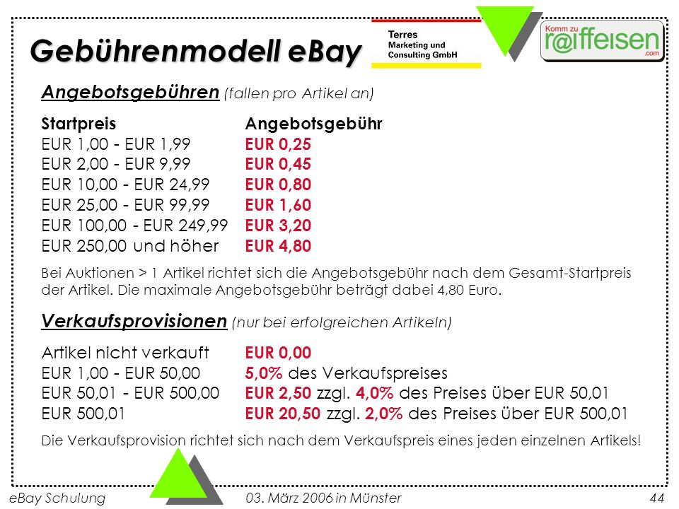 eBay Schulung 03. März 2006 in Münster44 Angebotsgebühren (fallen pro Artikel an) StartpreisAngebotsgebühr EUR 1,00 - EUR 1,99 EUR 0,25 EUR 2,00 - EUR