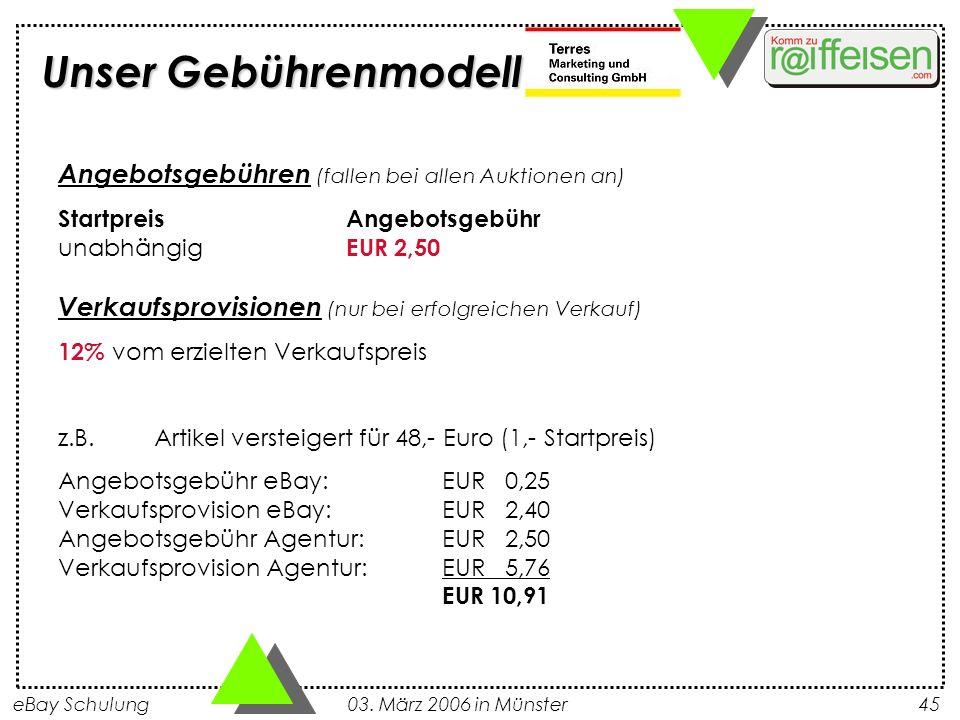eBay Schulung 03. März 2006 in Münster45 Angebotsgebühren (fallen bei allen Auktionen an) StartpreisAngebotsgebühr unabhängig EUR 2,50 Verkaufsprovisi