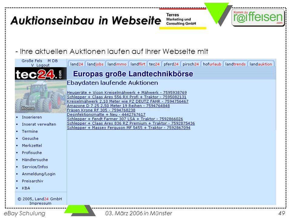 eBay Schulung 03. März 2006 in Münster49 Auktionseinbau in Webseite - Ihre aktuellen Auktionen laufen auf Ihrer Webseite mit