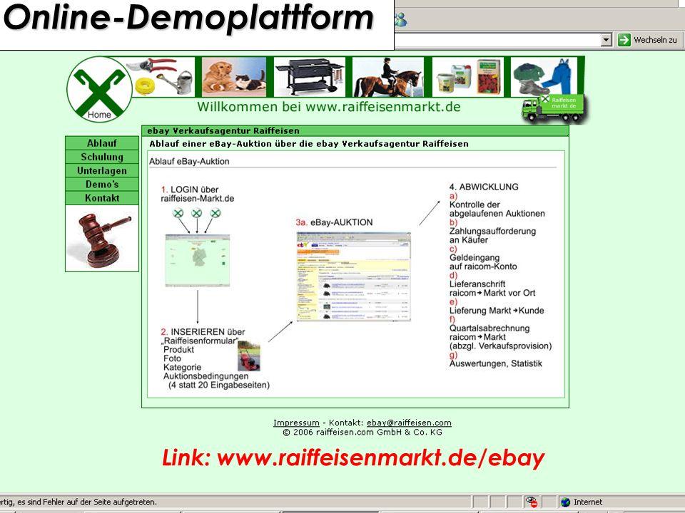 eBay Schulung 03. März 2006 in Münster51 Online-Demoplattform Online-Demoplattform Link: www.raiffeisenmarkt.de/ebay