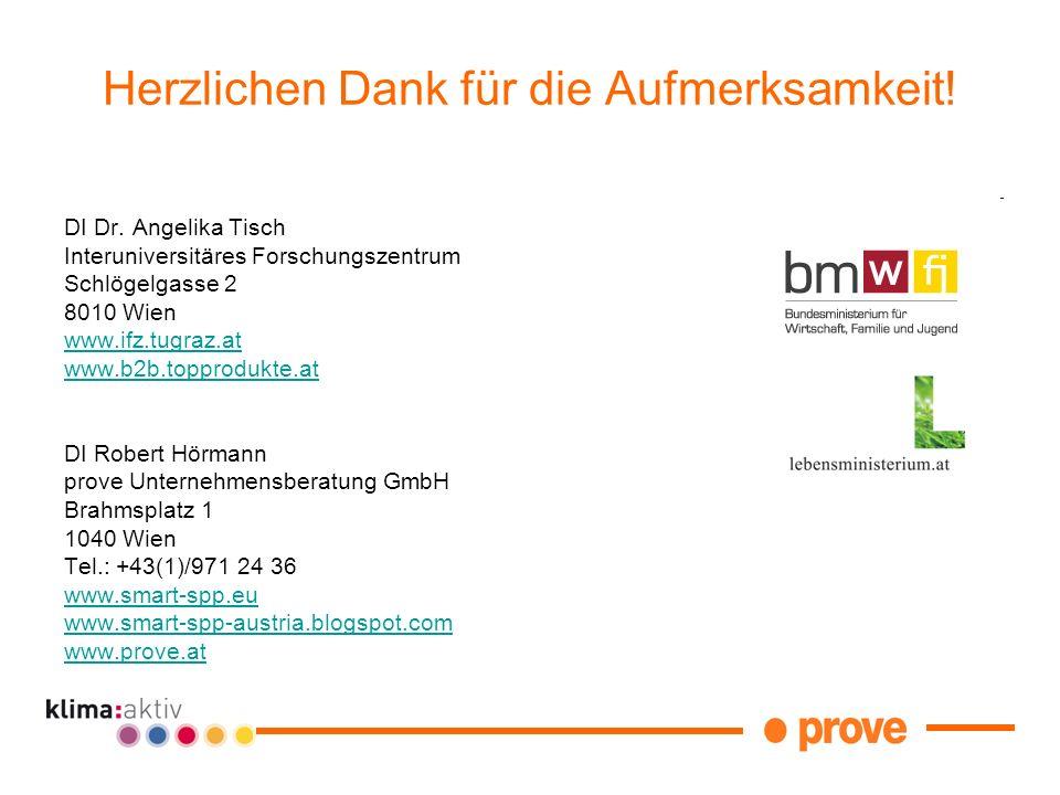 DI Dr. Angelika Tisch Interuniversitäres Forschungszentrum Schlögelgasse 2 8010 Wien www.ifz.tugraz.at www.b2b.topprodukte.at DI Robert Hörmann prove