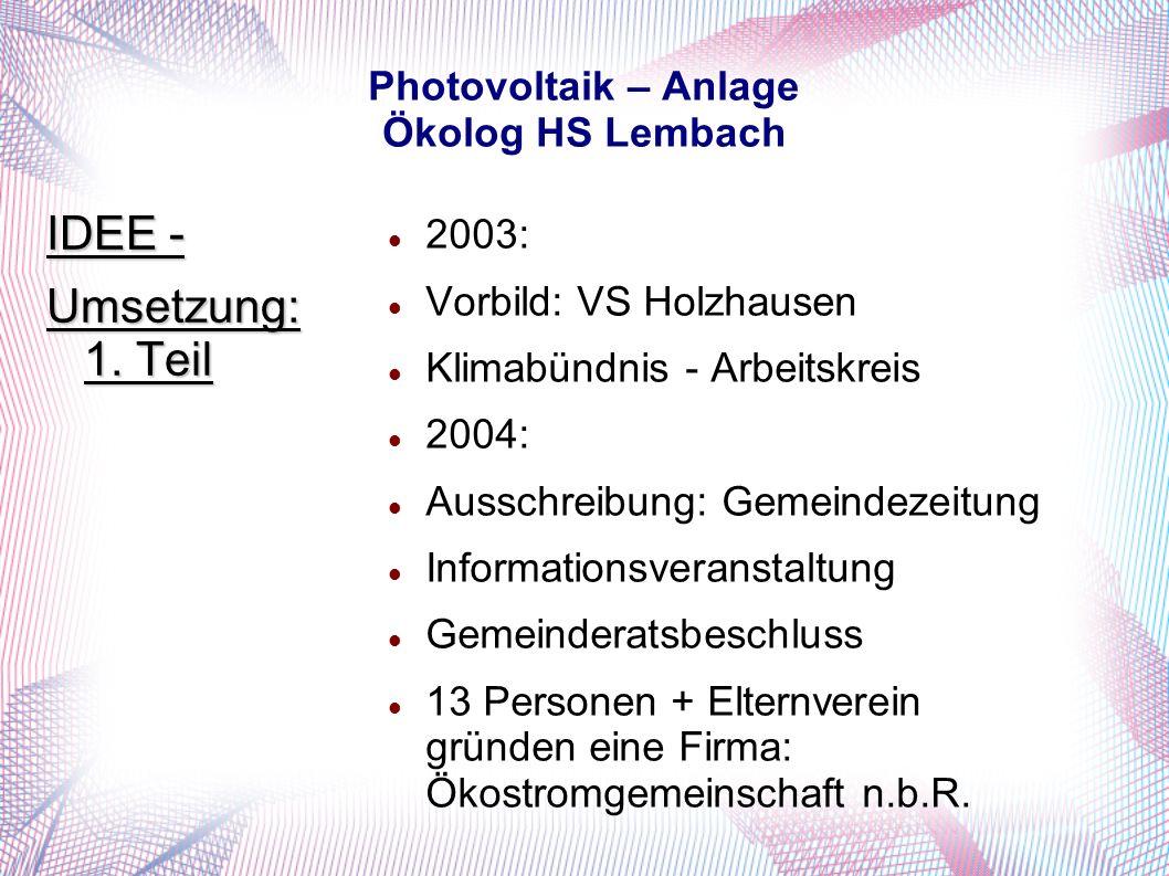 Photovoltaik – Anlage Ökolog HS Lembach 2003: Vorbild: VS Holzhausen Klimabündnis - Arbeitskreis 2004: Ausschreibung: Gemeindezeitung Informationsveranstaltung Gemeinderatsbeschluss 13 Personen + Elternverein gründen eine Firma: Ökostromgemeinschaft n.b.R.
