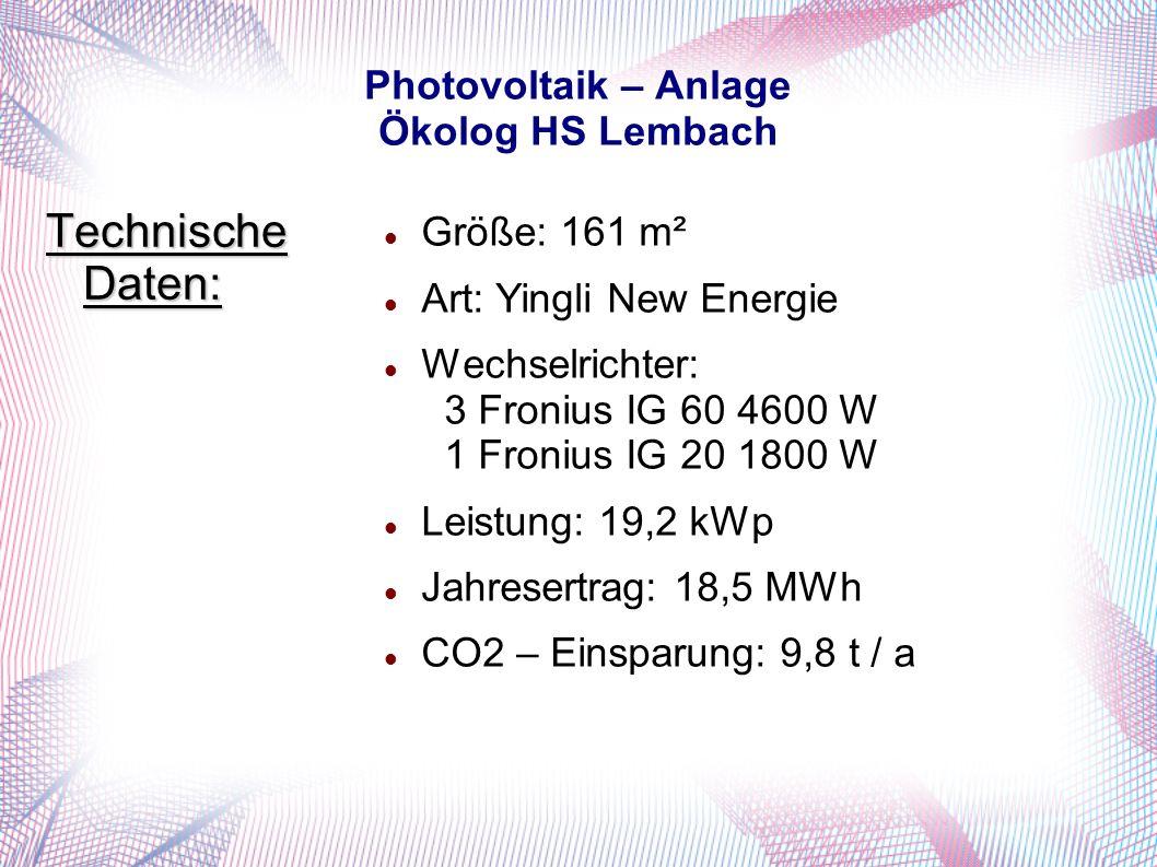 Photovoltaik – Anlage Ökolog HS Lembach Größe: 161 m² Art: Yingli New Energie Wechselrichter: 3 Fronius IG 60 4600 W 1 Fronius IG 20 1800 W Leistung: 19,2 kWp Jahresertrag: 18,5 MWh CO2 – Einsparung: 9,8 t / a Technische Daten: