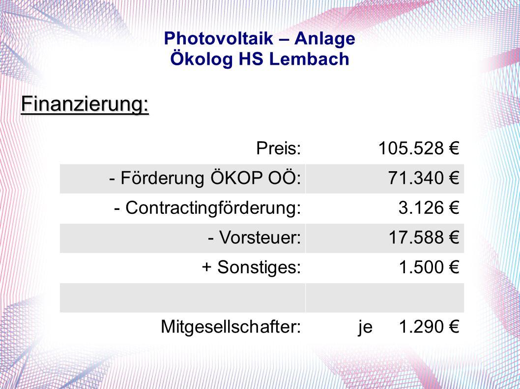 Photovoltaik – Anlage Ökolog HS Lembach Finanzierung: Preis:105.528 - Förderung ÖKOP OÖ:71.340 - Contractingförderung:3.126 - Vorsteuer:17.588 + Sonstiges:1.500 Mitgesellschafter:je 1.290