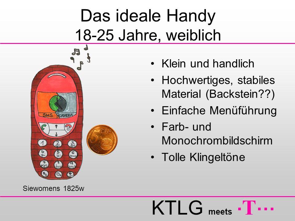 KTLG meets. T … Das ideale Handy 18-25 Jahre, weiblich Klein und handlich Hochwertiges, stabiles Material (Backstein??) Einfache Menüführung Farb- und