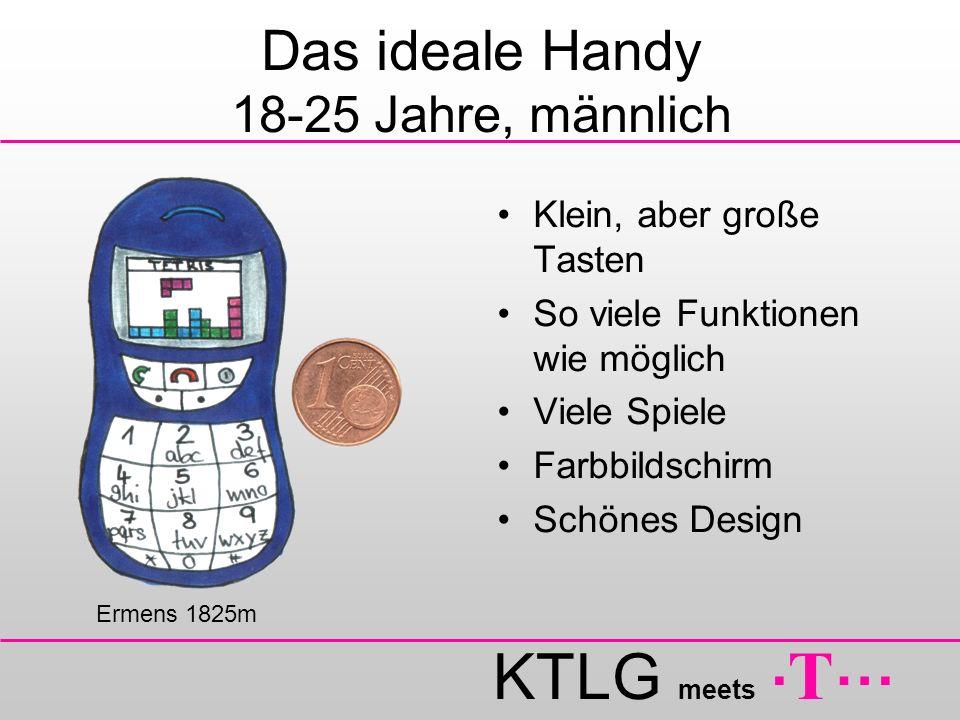 KTLG meets. T … Das ideale Handy 18-25 Jahre, männlich Klein, aber große Tasten So viele Funktionen wie möglich Viele Spiele Farbbildschirm Schönes De