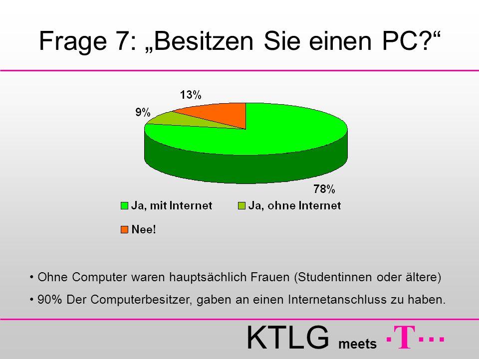 KTLG meets. T … Frage 7: Besitzen Sie einen PC? Ohne Computer waren hauptsächlich Frauen (Studentinnen oder ältere) 90% Der Computerbesitzer, gaben an