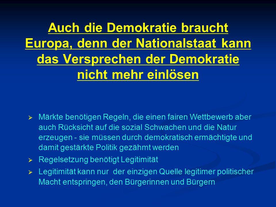 Auch die Demokratie braucht Europa, denn der Nationalstaat kann das Versprechen der Demokratie nicht mehr einlösen Märkte benötigen Regeln, die einen fairen Wettbewerb aber auch Rücksicht auf die sozial Schwachen und die Natur erzeugen - sie müssen durch demokratisch ermächtigte und damit gestärkte Politik gezähmt werden Regelsetzung benötigt Legitimität Legitimität kann nur der einzigen Quelle legitimer politischer Macht entspringen, den Bürgerinnen und Bürgern