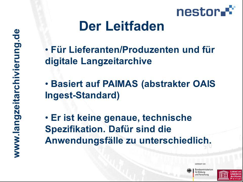 www.langzeitarchivierung.de IWI Der Leitfaden Für Lieferanten/Produzenten und für digitale Langzeitarchive Basiert auf PAIMAS (abstrakter OAIS Ingest-Standard) Er ist keine genaue, technische Spezifikation.