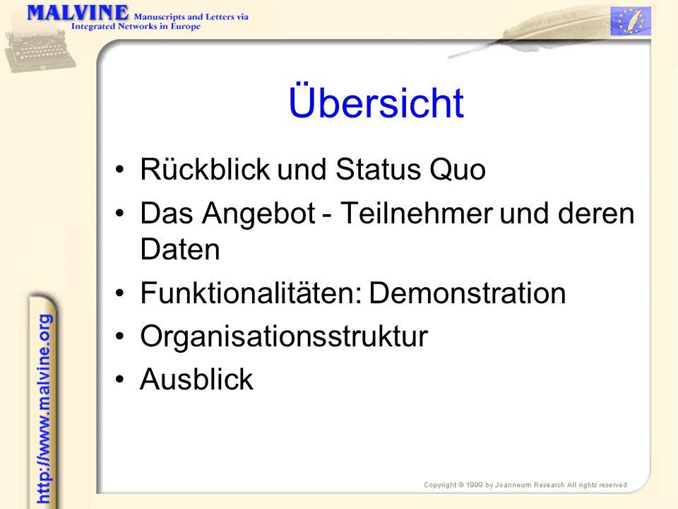 Übersicht Rückblick und Status Quo Das Angebot - Teilnehmer und deren Daten Funktionalitäten: Demonstration Organisationsstruktur Ausblick