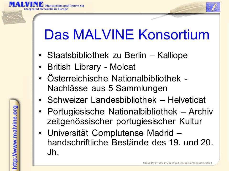 Das MALVINE Konsortium 2 Deutsches Literaturarchiv – komplementäre Daten zu Kalliope Forschungsstelle und Dokumentationszentrum für österreichische Philosophie Institut Memoires de LÉdition Contemporaine – 2 Verlagsarchive, zukünftig weitere Daten