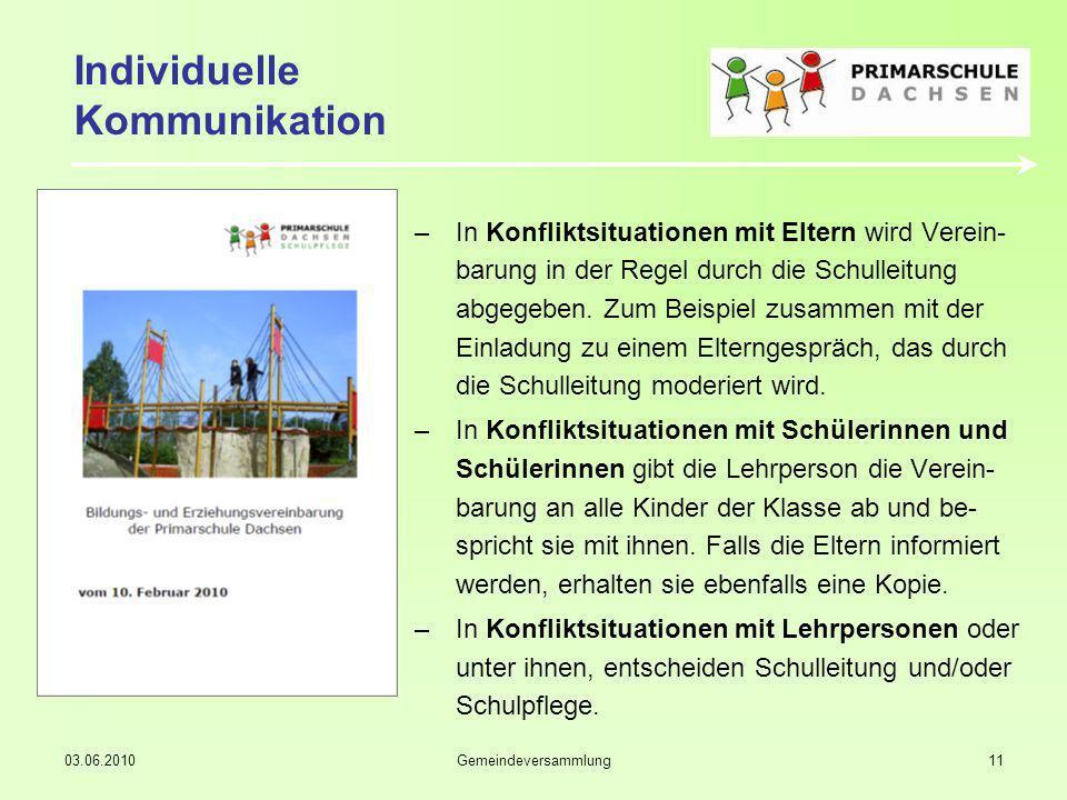 03.06.2010Gemeindeversammlung11 Individuelle Kommunikation –In Konfliktsituationen mit Eltern wird Verein- barung in der Regel durch die Schulleitung abgegeben.