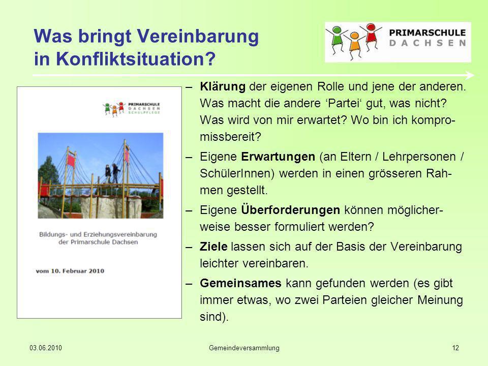 03.06.2010Gemeindeversammlung12 Was bringt Vereinbarung in Konfliktsituation.