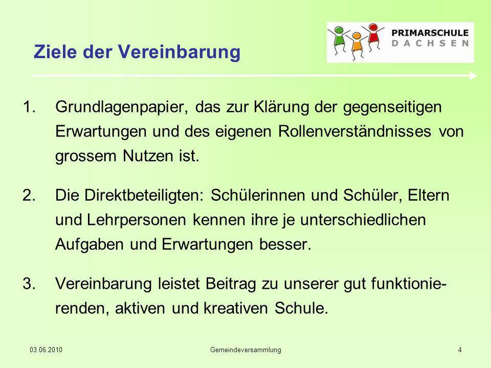 03.06.2010Gemeindeversammlung4 Ziele der Vereinbarung 1.Grundlagenpapier, das zur Klärung der gegenseitigen Erwartungen und des eigenen Rollenverständnisses von grossem Nutzen ist.