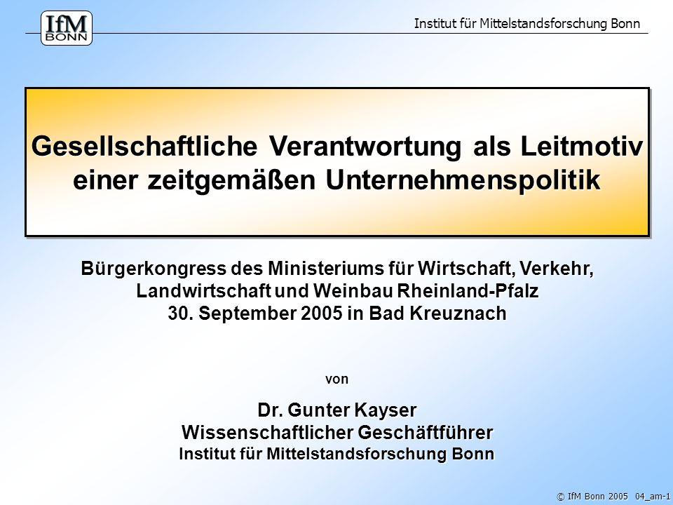 Institut für Mittelstandsforschung Bonn © IfM Bonn 2005 04_am-2 Abbildung 1: Tragen Unternehmer größere gesellschaftliche Verantwortung als andere Gesellschaftsgruppen.
