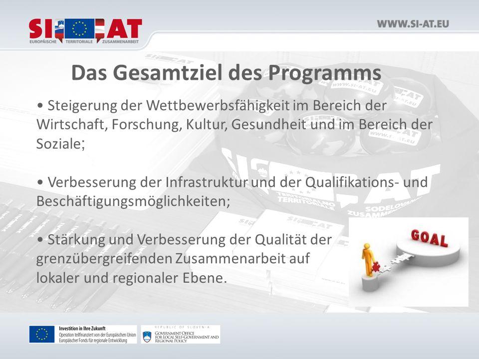Das Gesamtziel des Programms Steigerung der Wettbewerbsfähigkeit im Bereich der Wirtschaft, Forschung, Kultur, Gesundheit und im Bereich der Soziale ; Verbesserung der Infrastruktur und der Qualifikations- und Beschäftigungsmöglichkeiten; Stärkung und Verbesserung der Qualität der grenzübergreifenden Zusammenarbeit auf lokaler und regionaler Ebene.