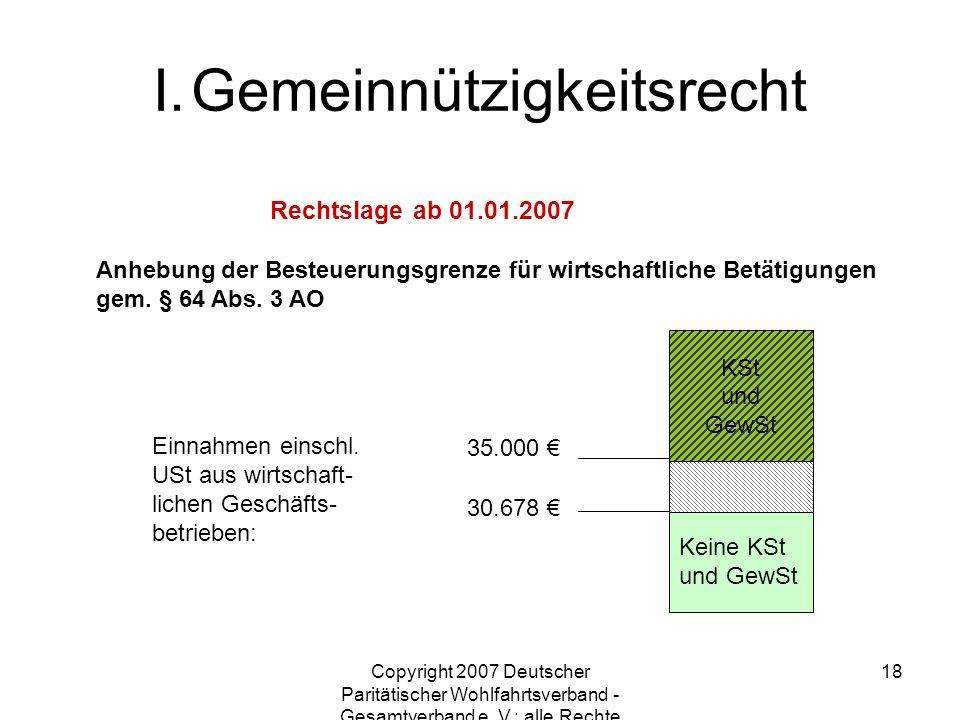 Copyright 2007 Deutscher Paritätischer Wohlfahrtsverband - Gesamtverband e. V.; alle Rechte vorbehalten 18 Anhebung der Besteuerungsgrenze für wirtsch