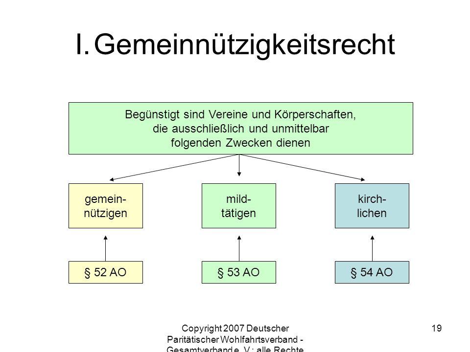 Copyright 2007 Deutscher Paritätischer Wohlfahrtsverband - Gesamtverband e. V.; alle Rechte vorbehalten 19 Begünstigt sind Vereine und Körperschaften,