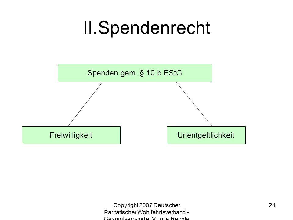 Copyright 2007 Deutscher Paritätischer Wohlfahrtsverband - Gesamtverband e. V.; alle Rechte vorbehalten 24 Spenden gem. § 10 b EStG FreiwilligkeitUnen