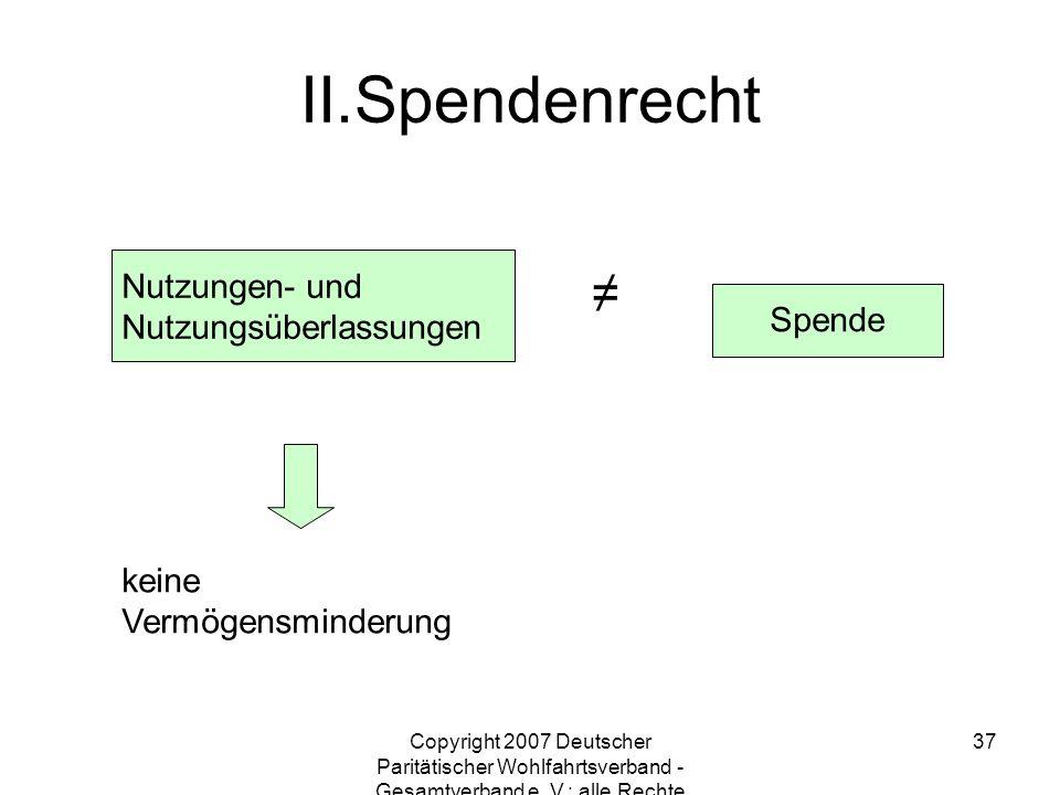 Copyright 2007 Deutscher Paritätischer Wohlfahrtsverband - Gesamtverband e. V.; alle Rechte vorbehalten 37 Nutzungen- und Nutzungsüberlassungen Spende