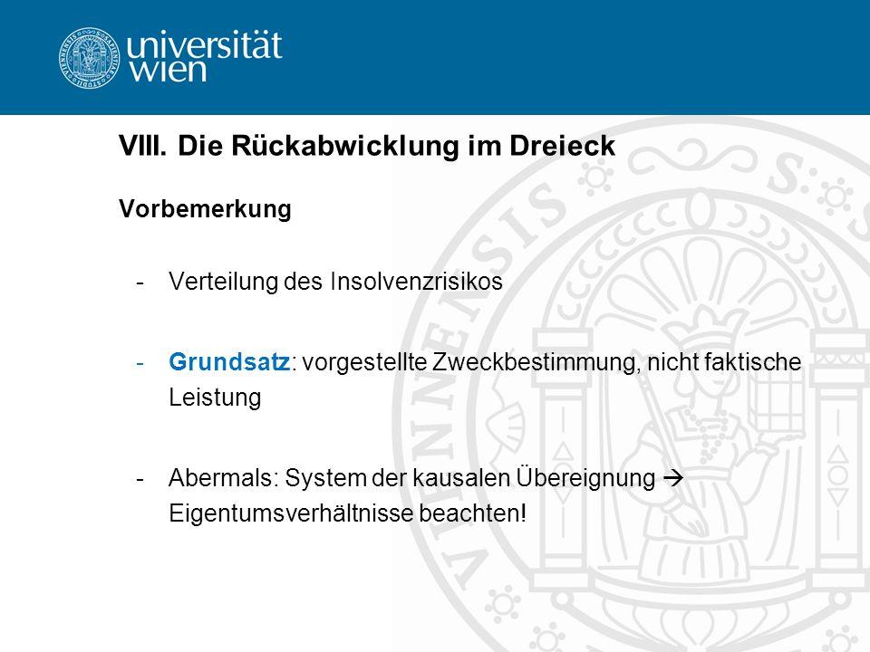 VIII. Die Rückabwicklung im Dreieck Vorbemerkung -Verteilung des Insolvenzrisikos -Grundsatz: vorgestellte Zweckbestimmung, nicht faktische Leistung -