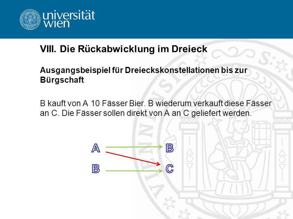 VIII. Die Rückabwicklung im Dreieck Ausgangsbeispiel für Dreieckskonstellationen bis zur Bürgschaft B kauft von A 10 Fässer Bier. B wiederum verkauft