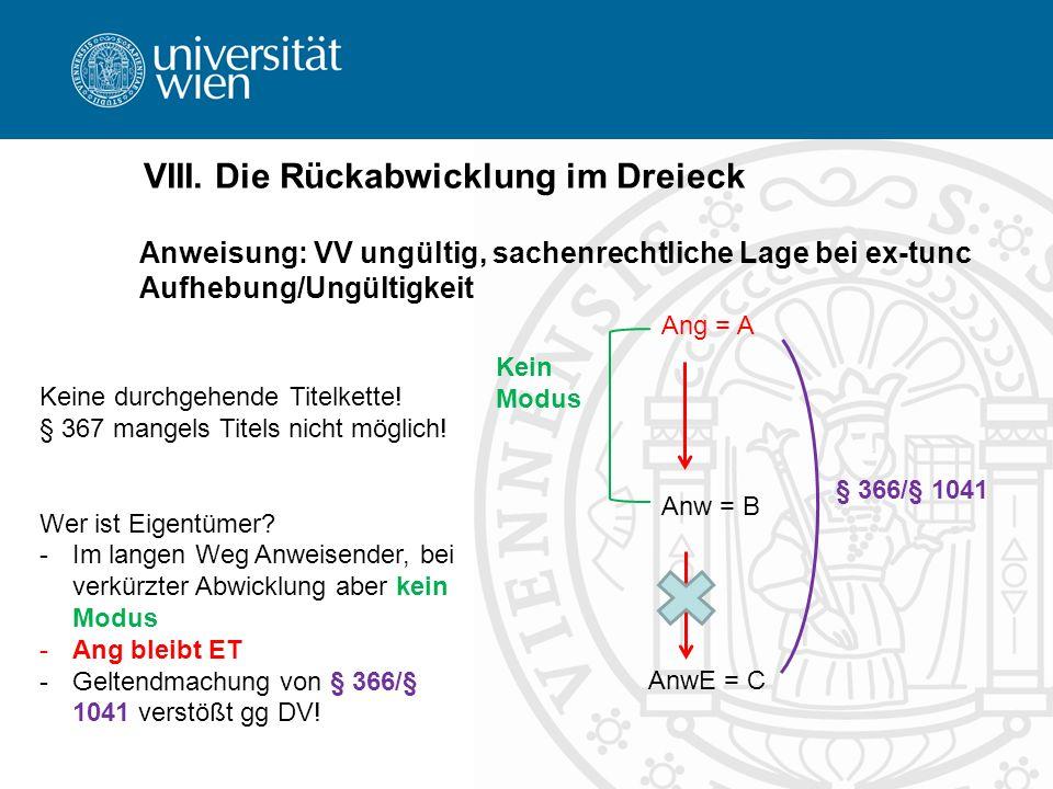 VIII. Die Rückabwicklung im Dreieck Anweisung: VV ungültig, sachenrechtliche Lage bei ex-tunc Aufhebung/Ungültigkeit Anw = B Ang = A AnwE = C Keine du