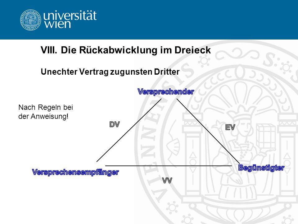 VIII. Die Rückabwicklung im Dreieck Unechter Vertrag zugunsten Dritter Nach Regeln bei der Anweisung!