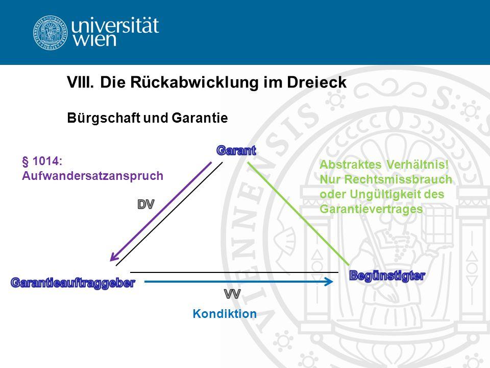 VIII. Die Rückabwicklung im Dreieck Bürgschaft und Garantie Abstraktes Verhältnis! Nur Rechtsmissbrauch oder Ungültigkeit des Garantievertrages § 1014