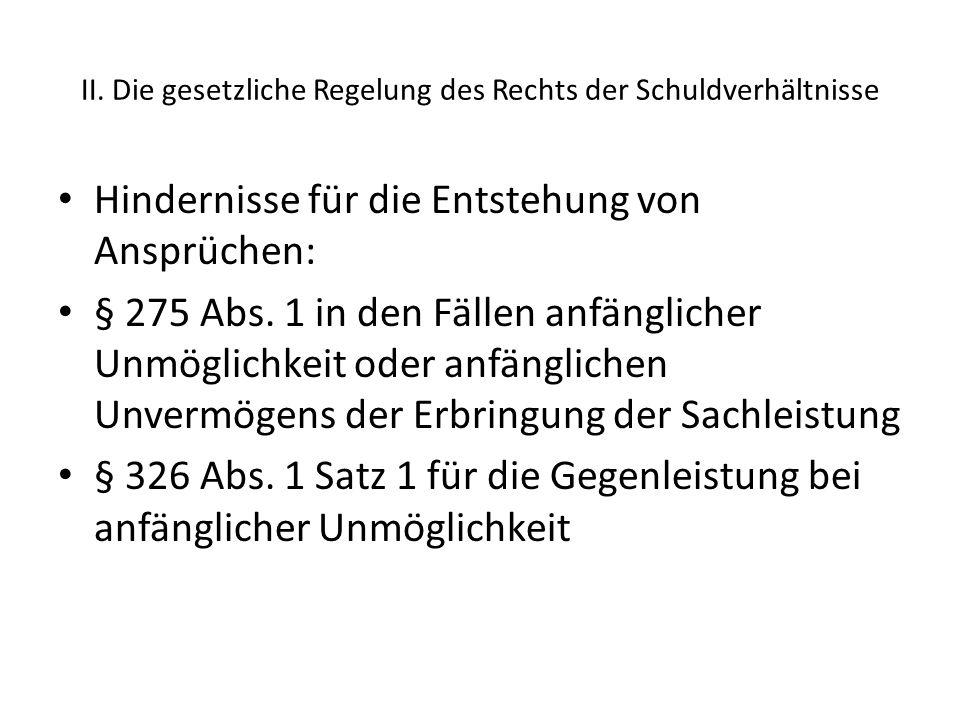 II. Die gesetzliche Regelung des Rechts der Schuldverhältnisse Hindernisse für die Entstehung von Ansprüchen: § 275 Abs. 1 in den Fällen anfänglicher