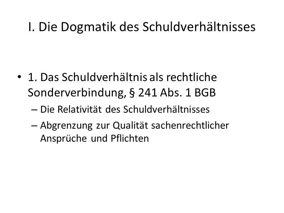 I.Die Dogmatik des Schuldverhältnisses 1.
