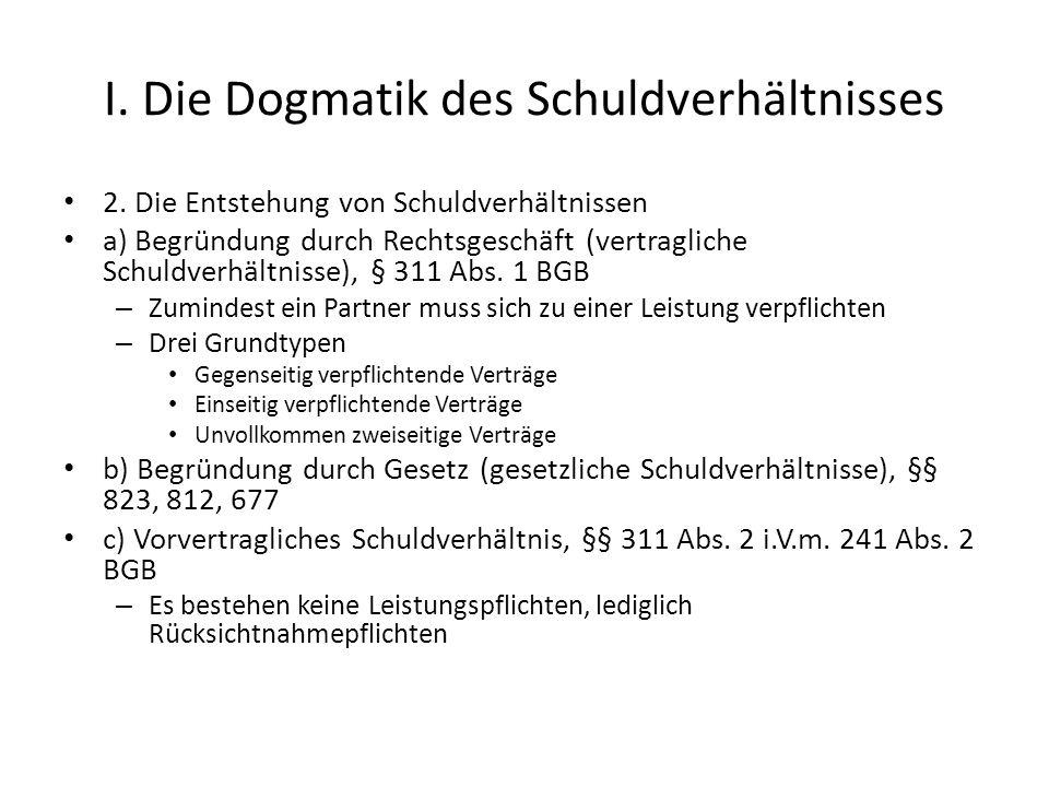 I.Die Dogmatik des Schuldverhältnisses 2.