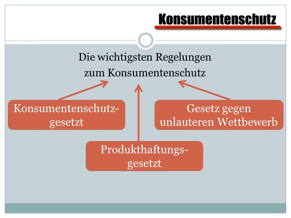 Die wichtigsten Regelungen zum Konsumentenschutz Konsumentenschutz- gesetzt Gesetz gegen unlauteren Wettbewerb Produkthaftungs- gesetzt
