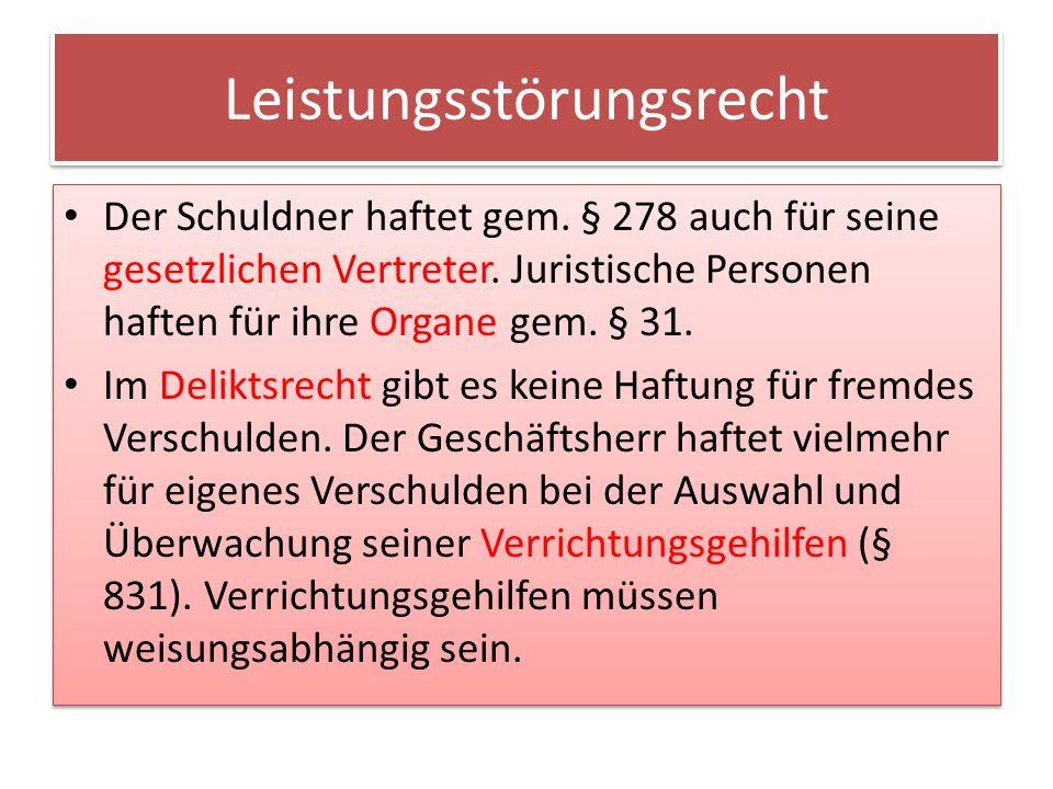 Leistungsstörungsrecht Der Schuldner haftet gem.§ 278 auch für seine gesetzlichen Vertreter.