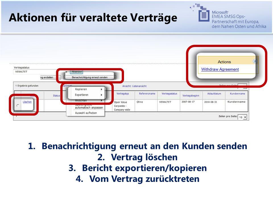 EMEA SMSG Ops- Partnerschaft mit Europa, dem Nahen Osten und Afrika Aktionen für veraltete Verträge 1.Benachrichtigung erneut an den Kunden senden 2.Vertrag löschen 3.Bericht exportieren/kopieren 4.Vom Vertrag zurücktreten