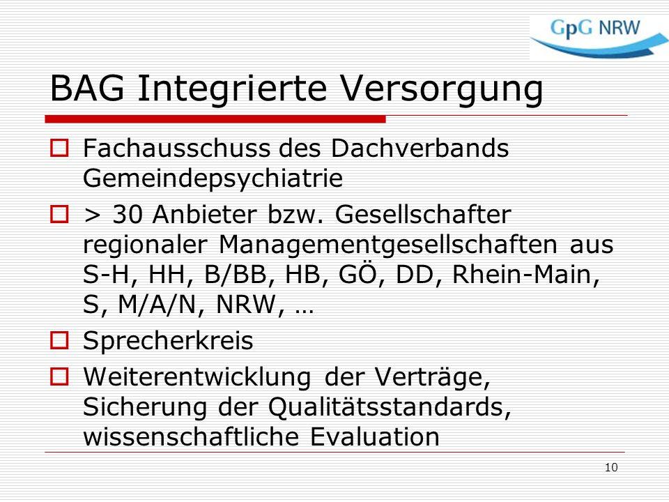 BAG Integrierte Versorgung Fachausschuss des Dachverbands Gemeindepsychiatrie > 30 Anbieter bzw. Gesellschafter regionaler Managementgesellschaften au