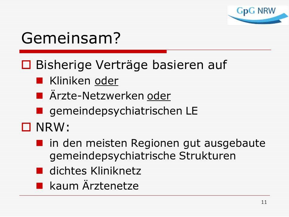Gemeinsam? Bisherige Verträge basieren auf Kliniken oder Ärzte-Netzwerken oder gemeindepsychiatrischen LE NRW: in den meisten Regionen gut ausgebaute