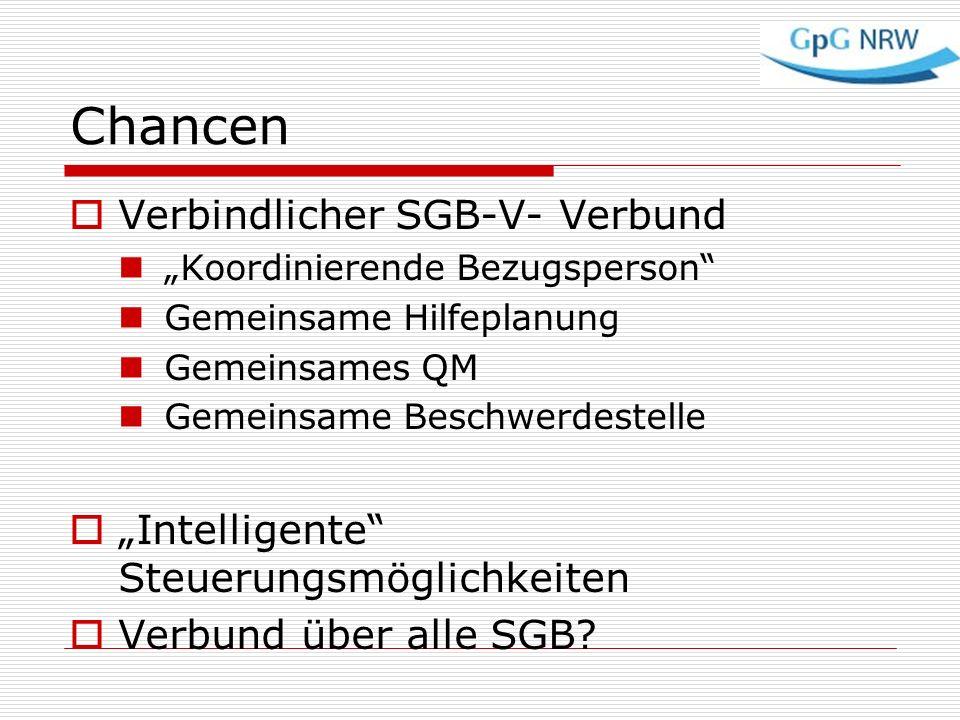 Chancen Verbindlicher SGB-V- Verbund Koordinierende Bezugsperson Gemeinsame Hilfeplanung Gemeinsames QM Gemeinsame Beschwerdestelle Intelligente Steue