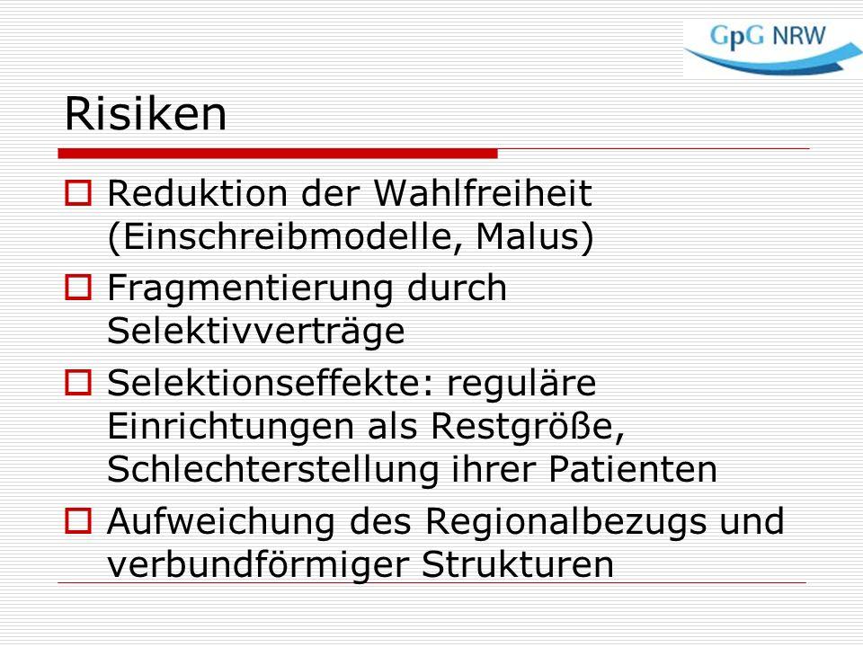 Risiken Reduktion der Wahlfreiheit (Einschreibmodelle, Malus) Fragmentierung durch Selektivverträge Selektionseffekte: reguläre Einrichtungen als Rest
