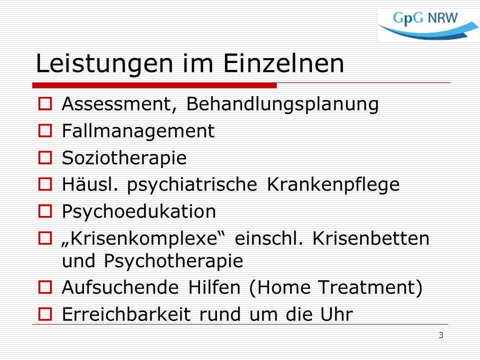 Leistungen im Einzelnen Assessment, Behandlungsplanung Fallmanagement Soziotherapie Häusl. psychiatrische Krankenpflege Psychoedukation Krisenkomplexe