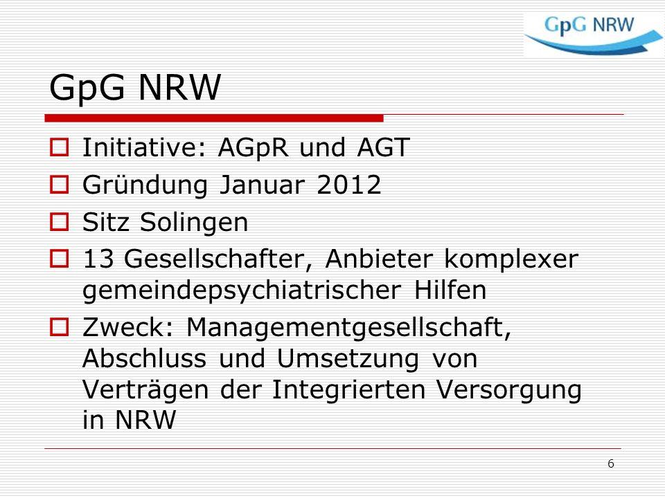 GpG NRW Initiative: AGpR und AGT Gründung Januar 2012 Sitz Solingen 13 Gesellschafter, Anbieter komplexer gemeindepsychiatrischer Hilfen Zweck: Manage