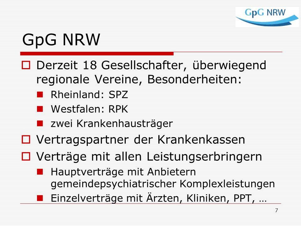 GpG NRW Derzeit 18 Gesellschafter, überwiegend regionale Vereine, Besonderheiten: Rheinland: SPZ Westfalen: RPK zwei Krankenhausträger Vertragspartner