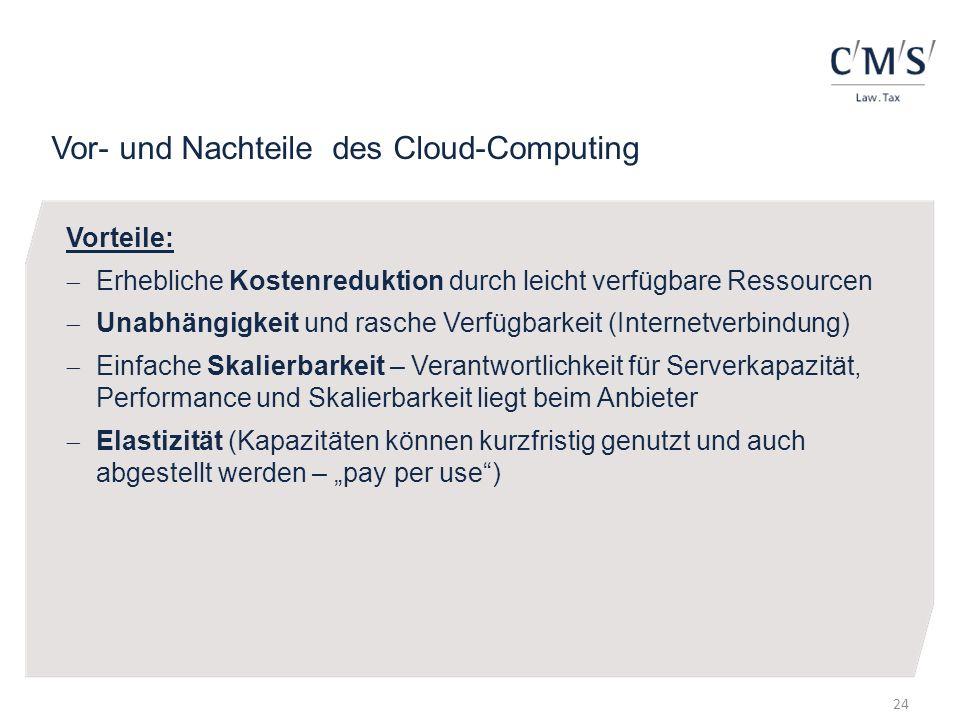 Vor- und Nachteile des Cloud-Computing Vorteile: Erhebliche Kostenreduktion durch leicht verfügbare Ressourcen Unabhängigkeit und rasche Verfügbarkeit