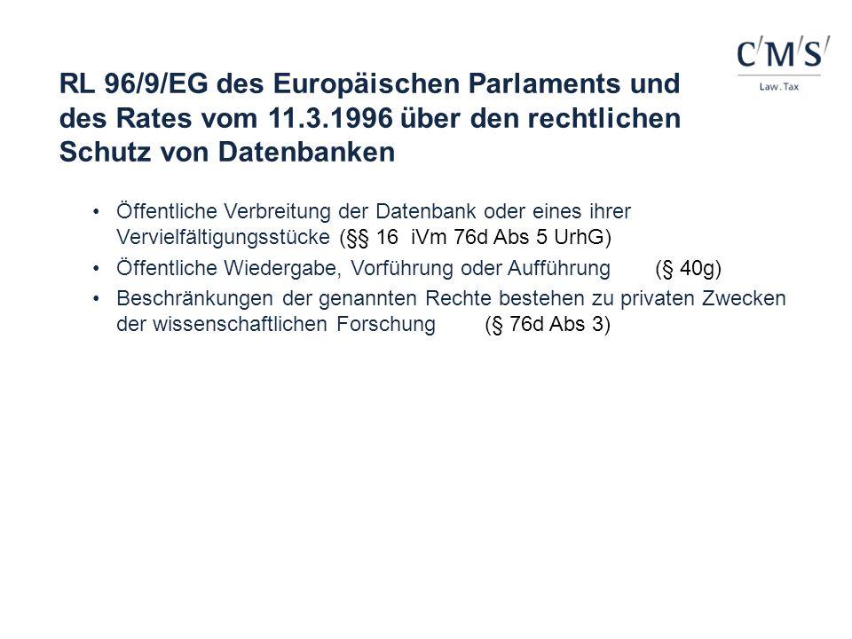 RL 96/9/EG des Europäischen Parlaments und des Rates vom 11.3.1996 über den rechtlichen Schutz von Datenbanken Öffentliche Verbreitung der Datenbank o