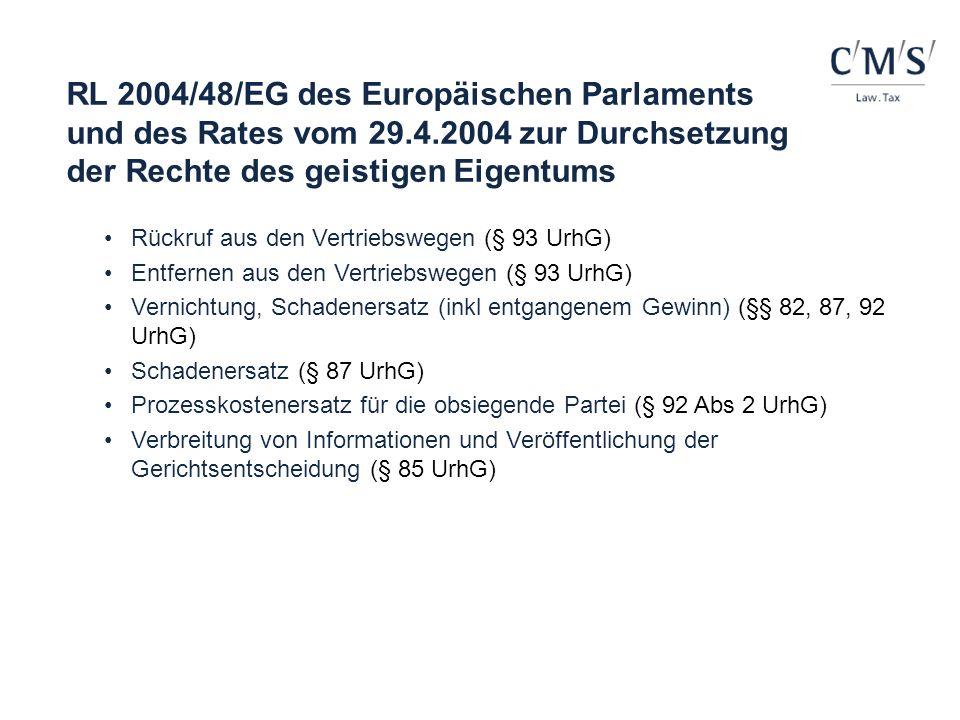 RL 2004/48/EG des Europäischen Parlaments und des Rates vom 29.4.2004 zur Durchsetzung der Rechte des geistigen Eigentums Rückruf aus den Vertriebsweg
